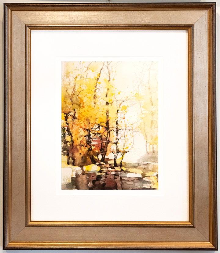 A pair of original watercolor paintings by ZL Feng framed