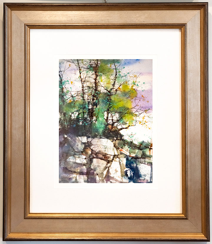 Trees by River Colorful Abstract Watercolor Painting by Z.L Feng