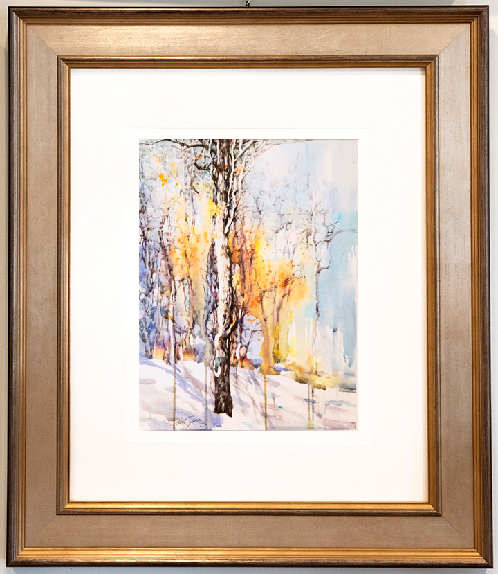 Watercolor Painting of Tree in Winter Abstract Artwork by Z.L. Feng